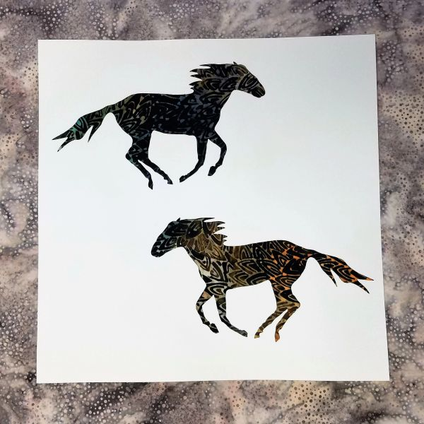 Spirit Horse Laser Cut Pre-Fused Batik Applique