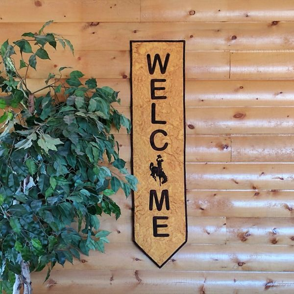 Welcome with Steamboat Banner, Laser Cut, Officially Licensed State of Wyoming Bucking Horse and Rider Wall Hanging kit