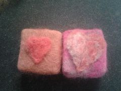 Two needle and wet felted soaps..perfect for valentines