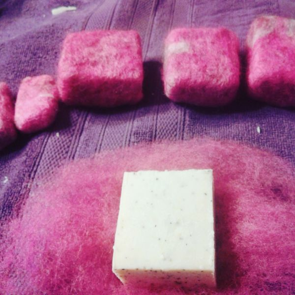 Wet felting soap kit...makes 4 half bars!