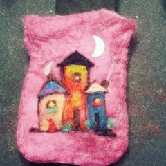 Made to order...wonky little village on gift bag