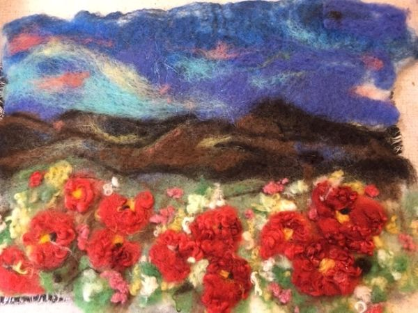 red flowers /canyons..Felt Wall Hanging