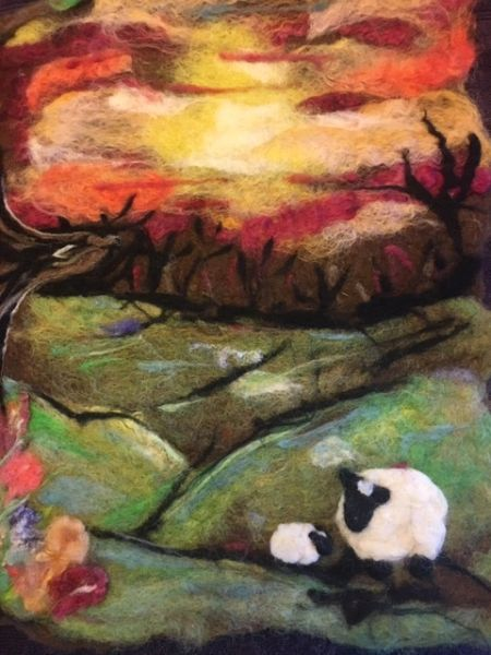 Hand Felted painting --sunset sheep (SOLD)