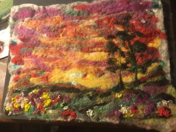 De Luz sunset ...handmade felt painting(SOLD)