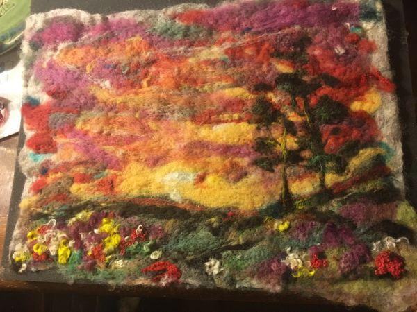 De Luz sunset ...handmade felt painting