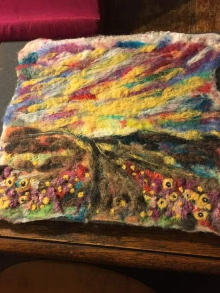 """Sunset over Camp Pendleton""handmade felt painting"
