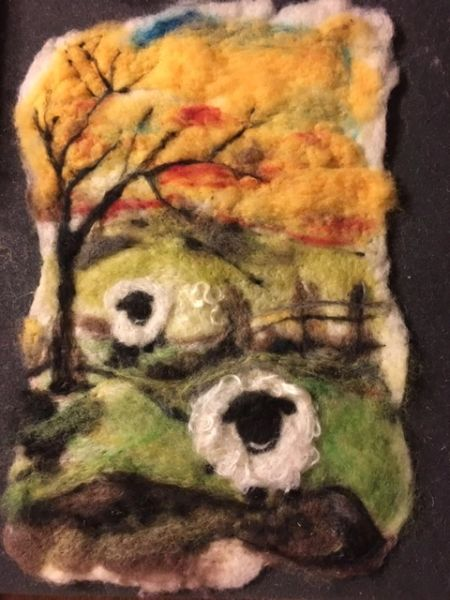 (sold)Little sheep ...felt wall hanging picture