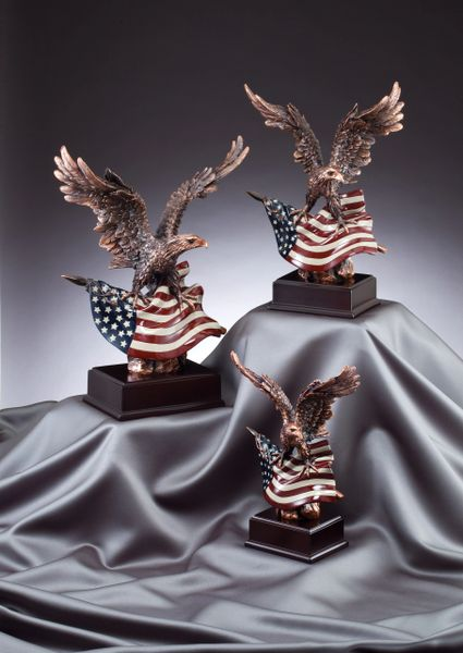 Eagle Statues with Flag