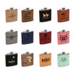 6oz Leatherette Flasks