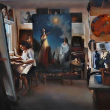 An oil painting of the artist, Lalita Hamill, in her studio