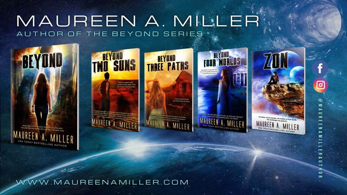 BEYOND series book covers from Maureen A. Miller. Outer space background.