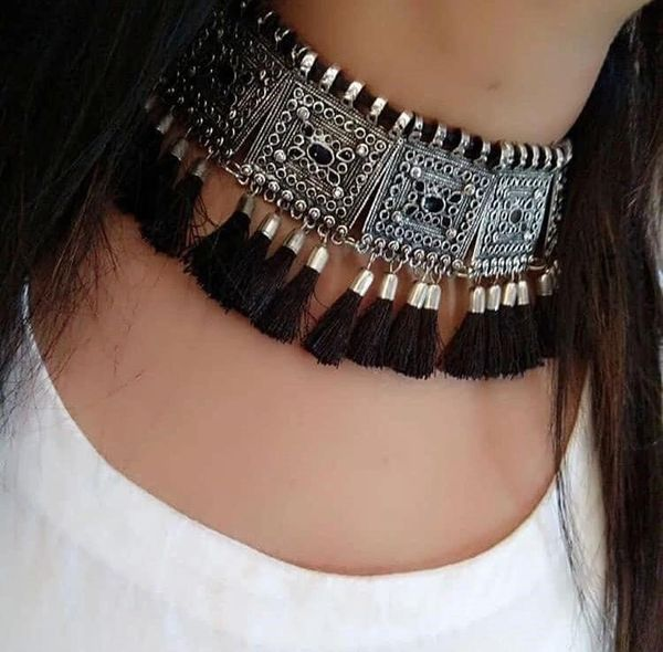Oxidized Black Choker Necklace