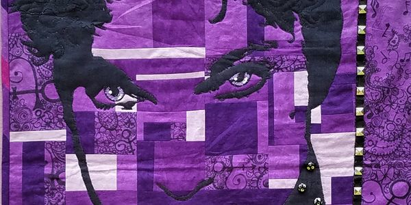 """Nothing Compares 2 U"" Prince Tribute Tour Cherrywood Fabric Prince Challenge Quilt. Original Quilt"