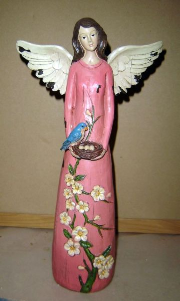 Garden angel figurine in rose dress with bluebird