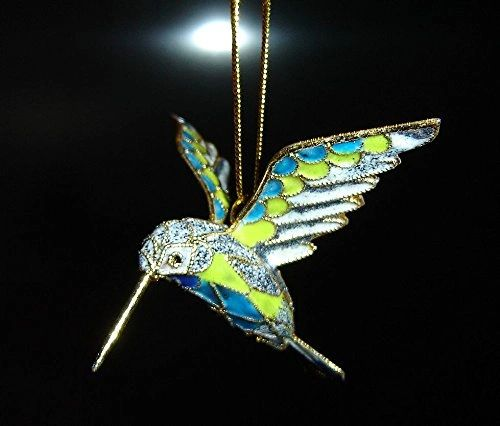 Cloisonné hummingbird Christmas ornament blue, green, gray