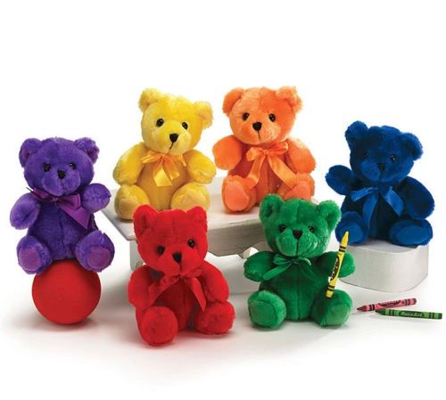 Package of 6 small bears, in all the colors of the rainbow