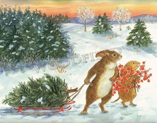 Bringing home the Christmas tree - 12-card set