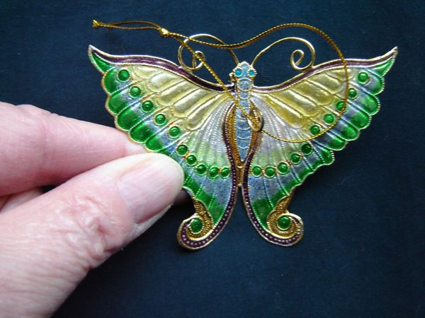 Cloisonné butterfly Christmas tree ornament, gold, green, blue
