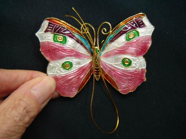 Cloisonné butterfly Christmas tree ornament, pink