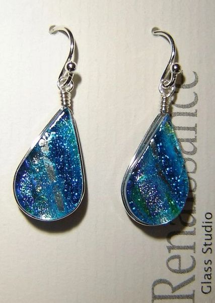 Sea Blue dichroic glass earrings, sterling silver wires