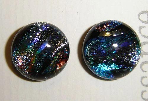 Sparkling Dichroic glass post earrings, light refracting