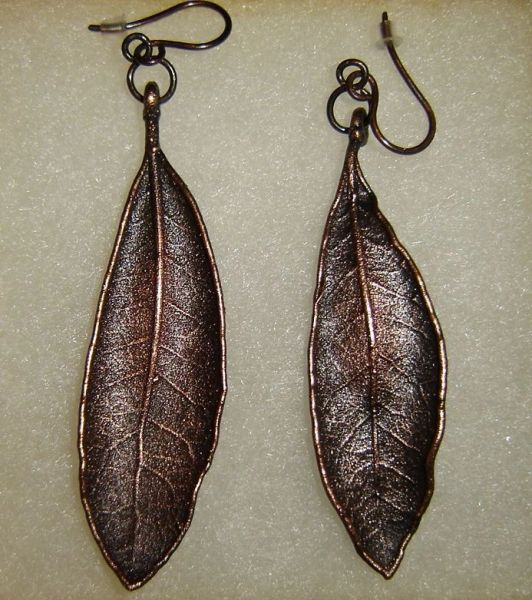 Live Oak leaf earrings natural look hand crafted jewelry