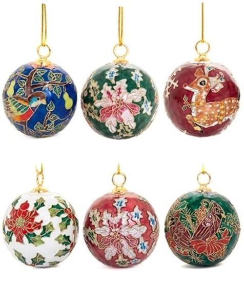 Set of six cloisonne Christmas tree ornaments