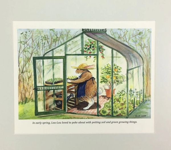 Greenhouse Rabbit - whimsical watercolor print, for framing