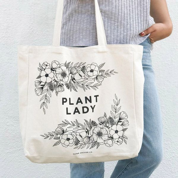 The Plant Lady canvas tote bag