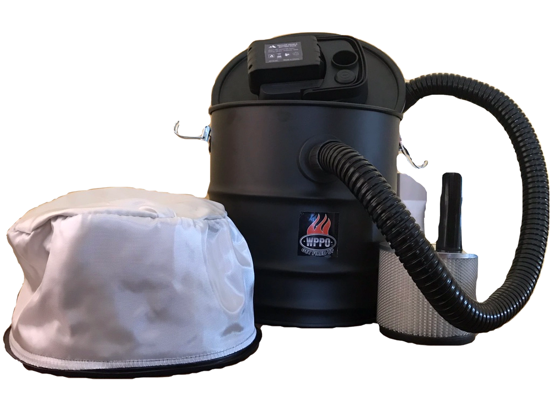 18v Ash Vacuum shown with fire retardant and HEPA filter