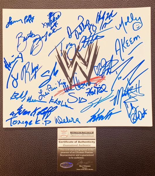 Deal of The Day (10/12/2019) - WWE autographed 8x10 Photo UPSC authentic! Over 25 Signatures!