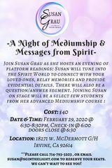 A Night of Platform Mediumship on Feb. 29th with Susan Grau in Irvine