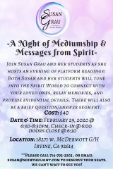 A Night of Platform Mediumship on Feb. 29th with Susan Grau's Advanced Students in Irvine!