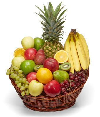 Gift Fruit Basket - Deluxe Size Basket with Mixed Nuts