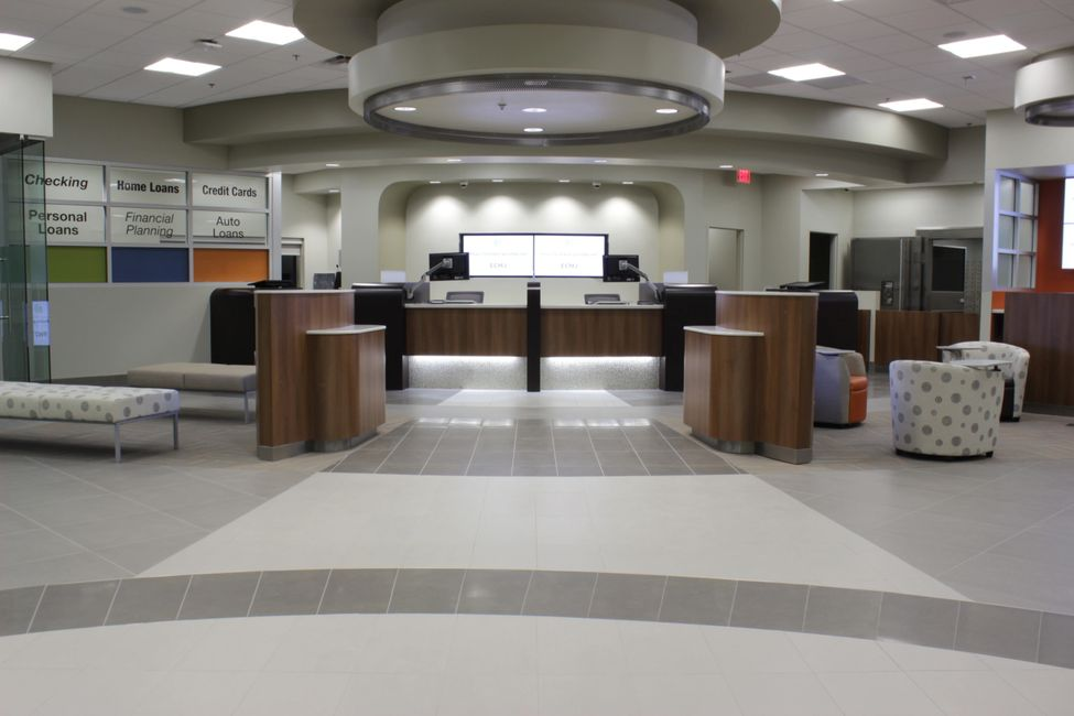 Commercial Tile Flooring in a bank