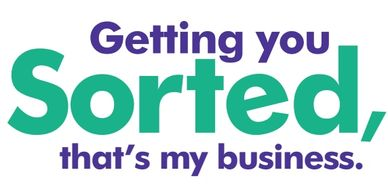 "Purple stylized paperclip on right-hand side of the words ""Getting you Sorted, that's my business"""