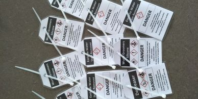 Personalised tags for decanted hazardous substances