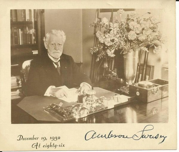 Lick Observatory Founder, Constructor of Telescopes Ambrose Swasey Sends Note of Thanks, Photograph