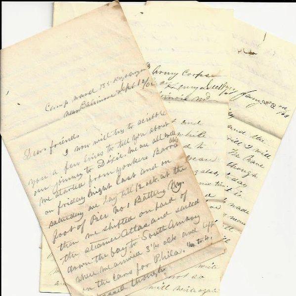 Three Civil War Letters: NY 6th PVT: Stonewall Jackson, Enfield Riffles, 30,000 Men