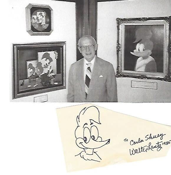 Walter Lantz Original of Woody Woodpecker Drawn for Fan