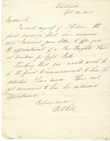 British Prime Minister Robert Peel Receives Memorial of Captain Betts -- Two Peel Signatures