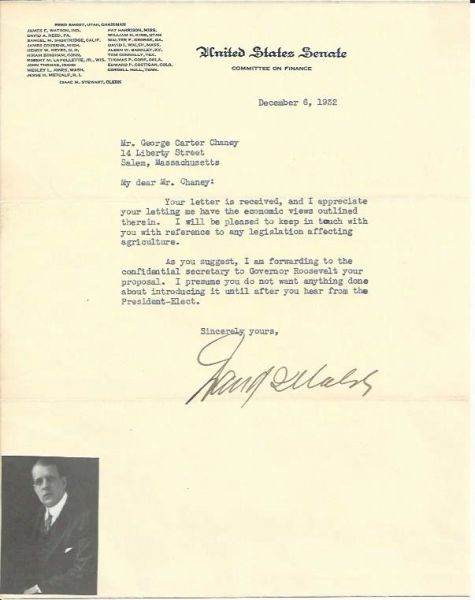 Sen. David Walsh, Former MA Governor, Passes Economic Advice to Roosevelt; Original Photograph of Roosevelt Laying Wreath Included