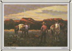 Cowboy Artist Bill Bender Signs Print -- Red Man's Telegraph
