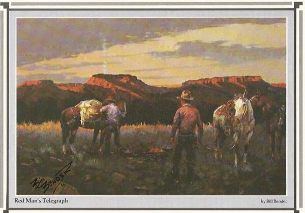 Cowboy Artist Bill Bender Signs Print -- Red Man's Telegraph
