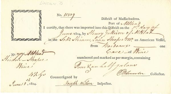 [British Surrender] Washington Appointee Benjamin Lincoln: DS as Port Collector in MA
