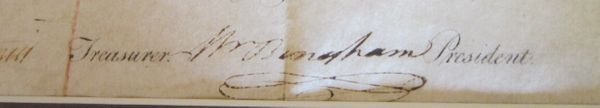 William Bingham Met with Double Agent Silas Deane, Escorted Washington; Signs Lancaster Turnpike Stock Certificate--RARE