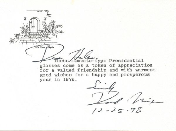 Richard Nixon Sends Presidential Glasses to Publisher Helen Copley -- TNS