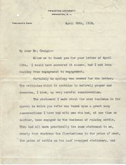 [Princeton University] Woodrow Wilson Writes to Meat Packing Lawyer about Unprofitable Cattle Raising