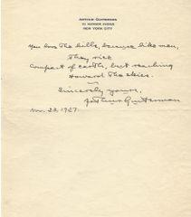 Humorous Writer Arthur Guiterman Provides Autograph Quote Signed
