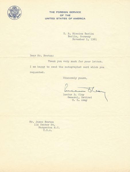 Eisenhower's Deputy, Military Governor, General Lucius D. Clay Sends Autograph